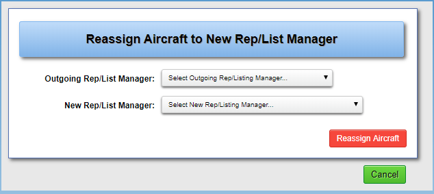 Reassign Aircraft Reps/Listing Manager