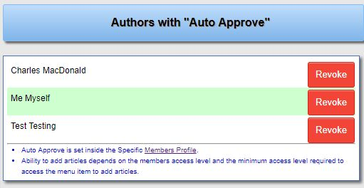 Auto Approve Articles