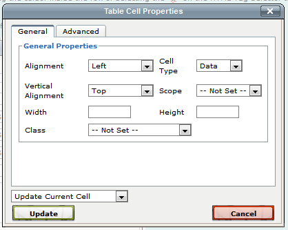 Using the xms systems wysiwyg editor - Html table cell properties ...