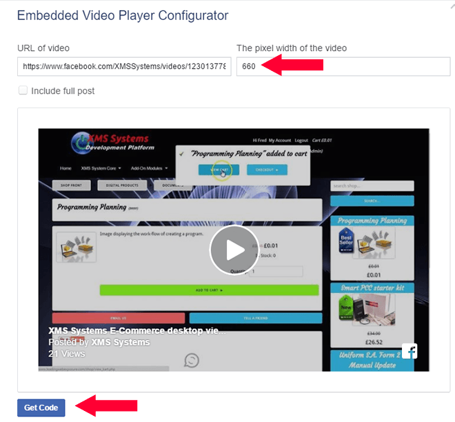 Facebook Video Played Configuration