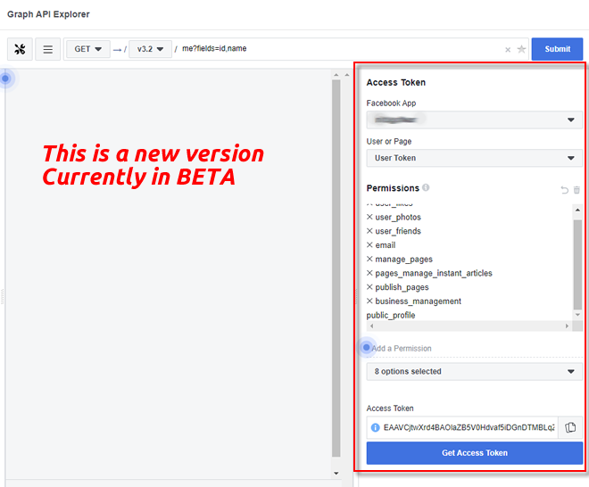 Facebook Graph API Explorer BETA
