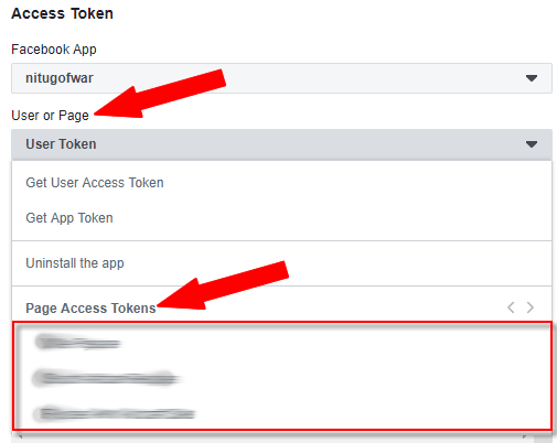 Select User or Page Token