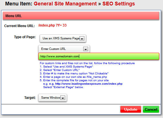 how to add a custim link to a menu page