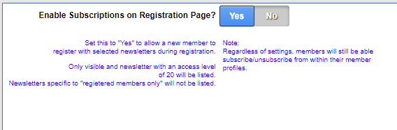 Subscribe to newsletters during registration