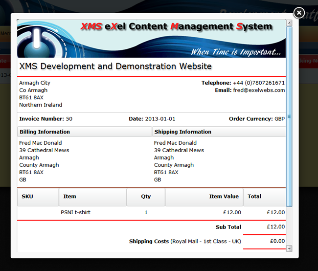 XMS Systems E-Commerce Invoice view