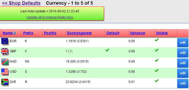 XMS Systems E-Commerce Currency Settings