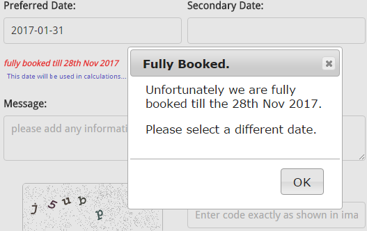 Fully Booked, No Availability