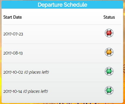 Scheduled departures available