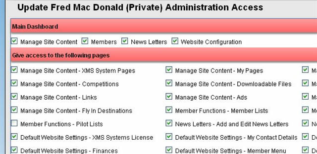 Select Sections and Pages that needs to be accessed.