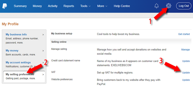 PayPal business Settings